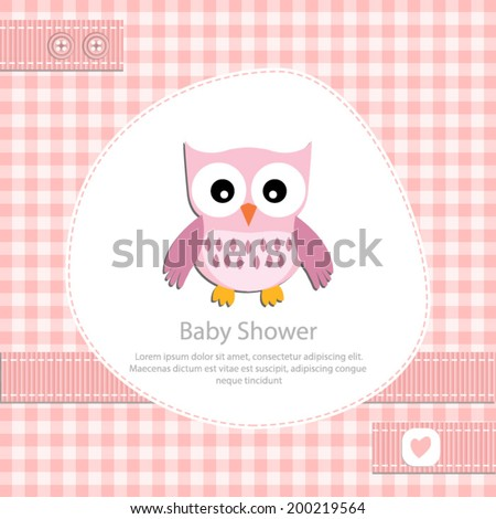 baby shower card for girl.Pink gingham background with owl.Vector eps10,illustration. - stock vector