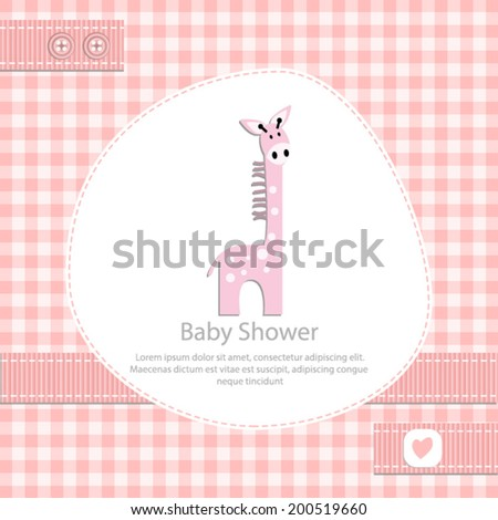 baby shower card for girl.Pink gingham background with pink giraffe.Vector eps10,illustration. - stock vector