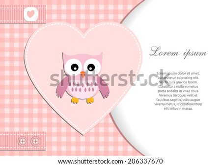 baby shower card for girl.Pink heart and gingham background with owl.Vector eps10,illustration. - stock vector