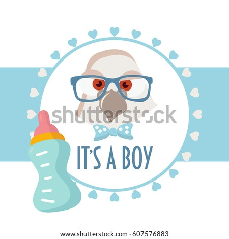Baby Shower Card Its Boy Baby Stock Vector 607576883 - Shutterstock