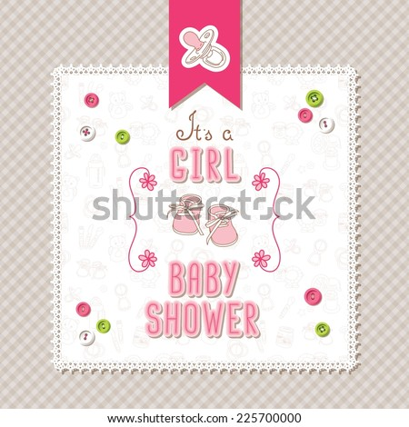 Baby shower card (It's a Girl) - stock vector