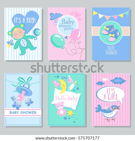 Baby shower card set for boy for girl Happy birthday party it's a boy it's a girl Newborn toddler celebration greeting or invitation card poster vector