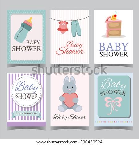 baby shower card set boy girl stock vector 590430500 shutterstock