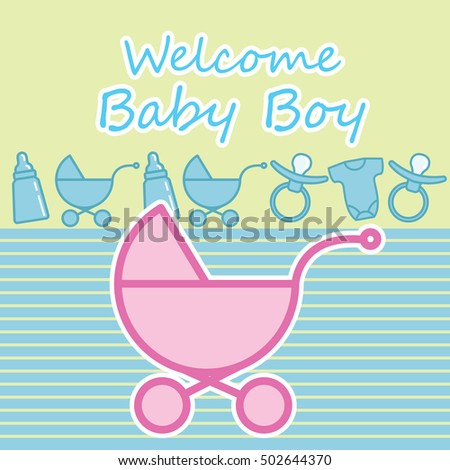 Baby Shower New Born Baby Card Stock Vector 500208574 - Shutterstock