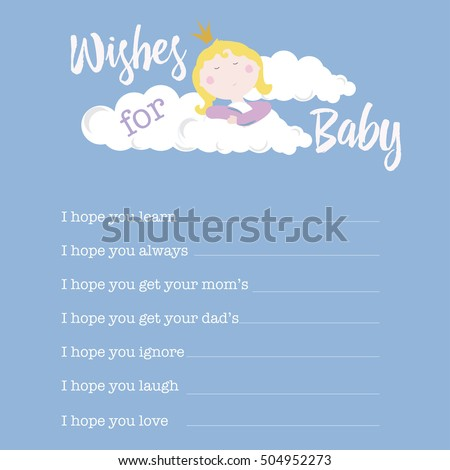 Baby Shower Card Template Wishes Baby Stock Photo Photo Vector