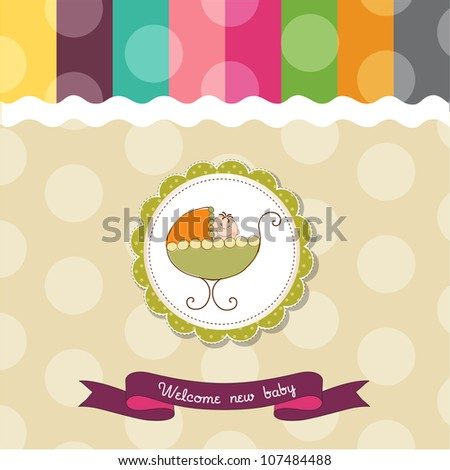 baby shower card with baby and pram - stock vector