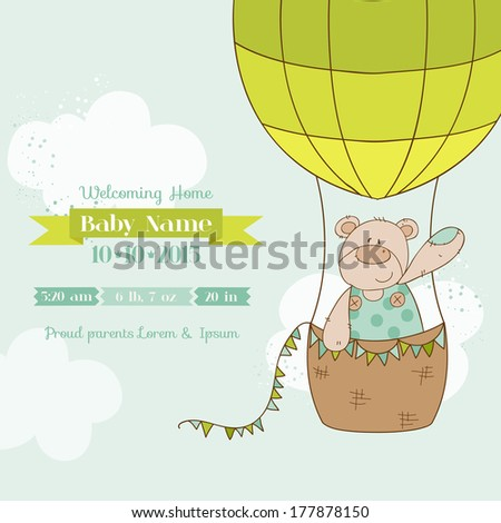 Baby Shower Card - with Baby Bear - in vector - stock vector