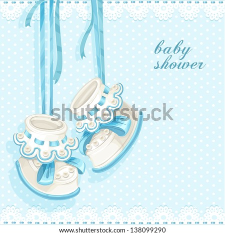 Baby shower card with blue booties and lace - stock vector