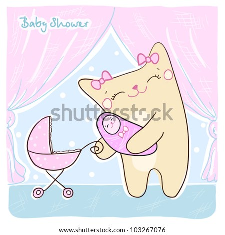 Baby shower card with cute kitty.
