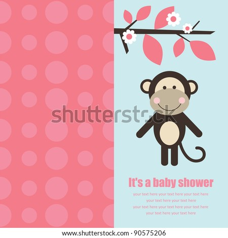 baby shower card with cute monkey. vector illustration - stock vector