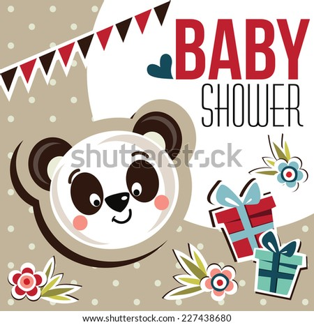 baby shower card with cute panda - stock vector