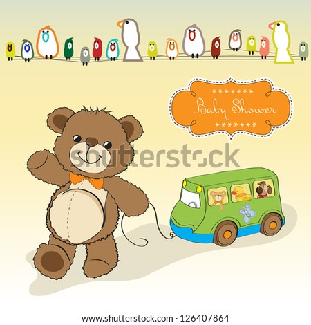 baby shower card with cute teddy bear and bus toy - stock vector
