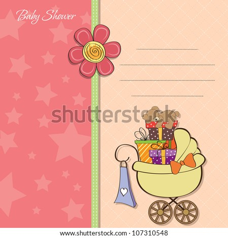 baby shower card with gift boxes in the pram - stock vector