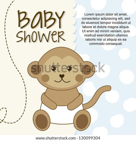 baby shower card with monkey. vector illustration - stock vector