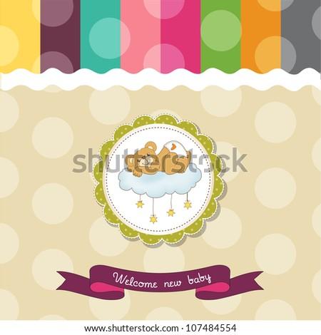baby shower card with sleepy teddy bear - stock vector