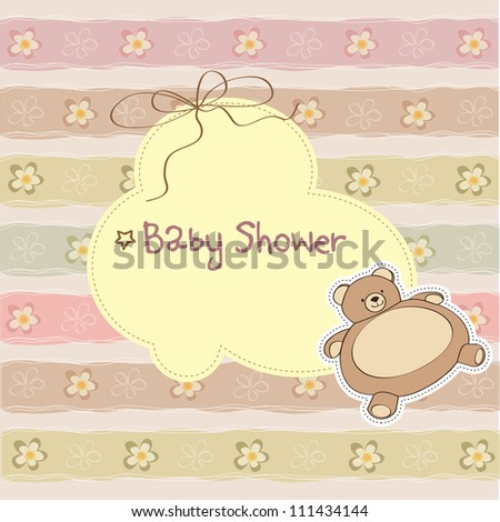 baby shower card with teddy - stock vector