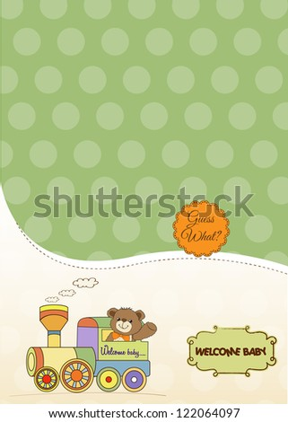 baby shower card with teddy bear and train toy