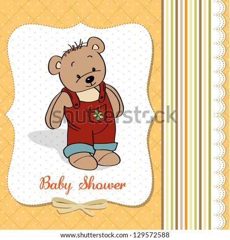 baby shower card with teddy bear toy, vector illustration - stock vector