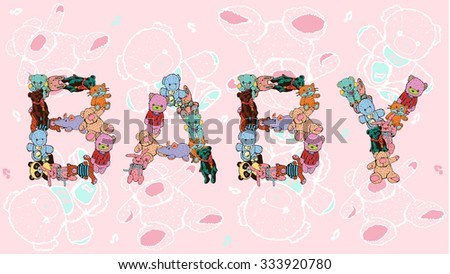 Baby shower card with Text. Plush vector Type - stock vector