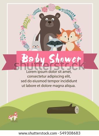 baby shower card woodland animals vector stock vector 549308683, Baby shower invitations