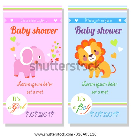Baby shower cards with cute lion and elephant. It's a girl and it's a boy - stock vector