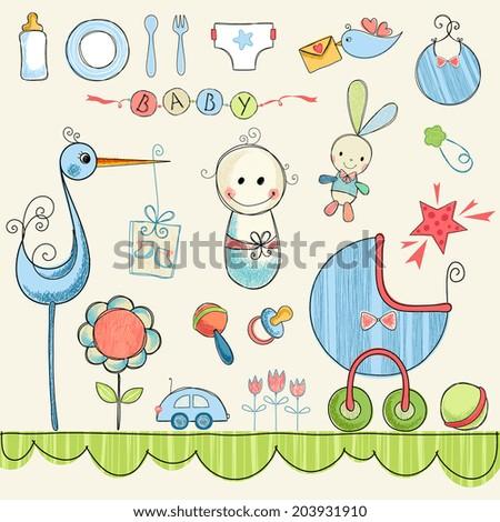 Baby Shower Clip Art Stock Vector 203931910 Shutterstock