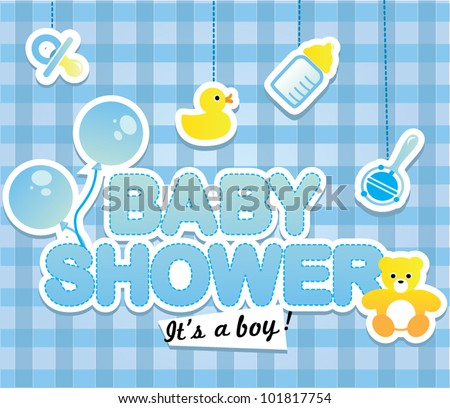 Baby shower - Cute card for boy - stock vector