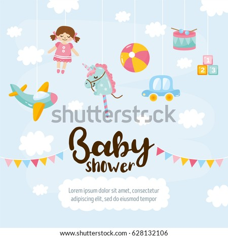 Baby shower cute greeting card amazing stock vector 628132106 baby shower cute greeting card amazing kids illustration toy aircraft doll unicorn m4hsunfo