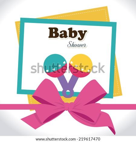 Baby shower design over white background, vector illustration - stock vector