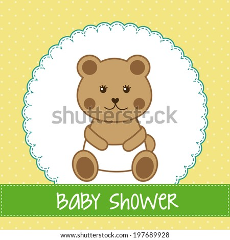 Baby shower design over yellow background, vector illustration