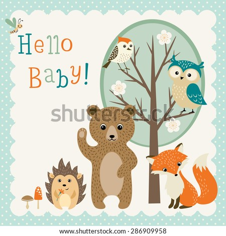 Baby shower design with cute woodland animals. - stock vector