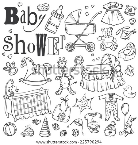 baby shower doodles set - stock vector