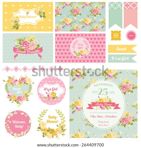 Baby Shower Flower Theme - Scrapbook Design Elements, Backgrounds - in vector  - stock vector