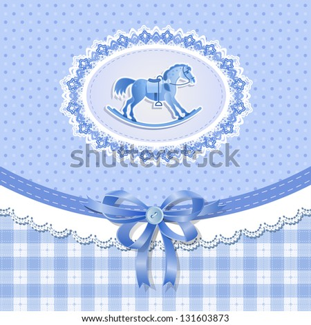 Baby shower for boy with horse, vector