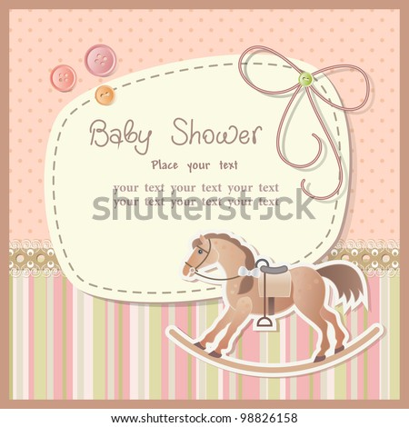 Baby shower for boy with scrapbook elements - stock vector