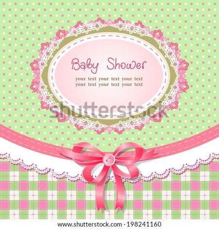 Baby shower for girl, vector illustration - stock vector