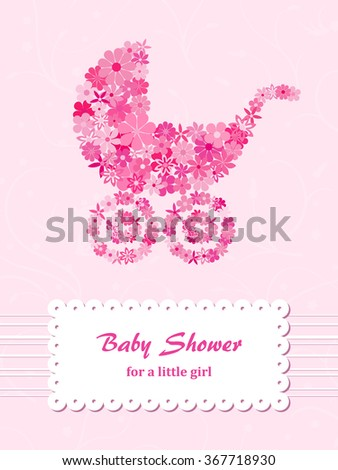 Baby shower for girl with pink stroller - stock vector