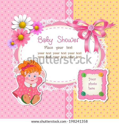 Baby shower for girl with toy and flower, vector illustration