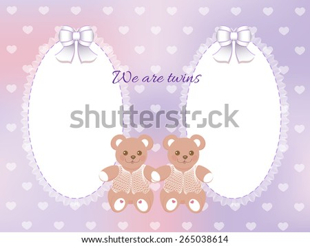 Baby shower for twins frame with bears on blurred purple background - stock vector