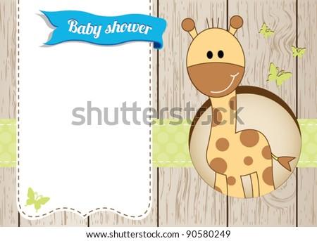 Baby shower giraffe boy card - stock vector