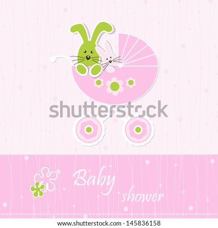 Baby shower - girl - stock vector