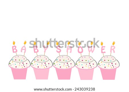 Baby shower girl greeting card with cupcakes and candles