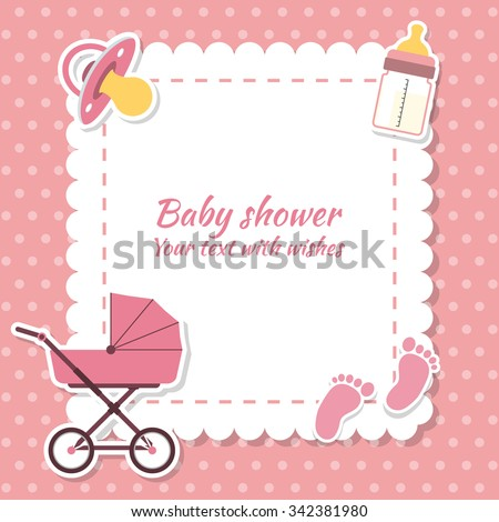 Baby shower girl, invitation card. Place for text.  Greeting cards - stock vector