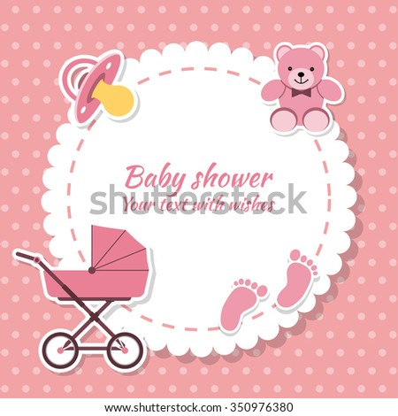 Baby shower girl, invitation card. Place for text.  Greeting cards. - stock vector
