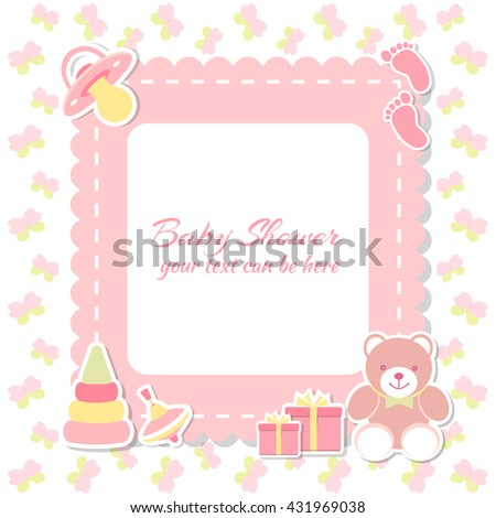 Baby shower girl, invitation card. Place for text.  Greeting cards. Vector illustration. Teddy bear with a gift box, pink background, butterfly. - stock vector