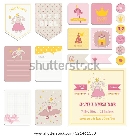 Baby Shower Girl Set - Tags, Banners, Labels, Cards - in vector - stock vector