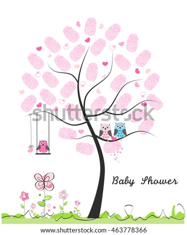 Baby shower greeting card baby girl stock vector 2018 463778366 baby shower greeting card baby girl baby owl owl family with made of m4hsunfo