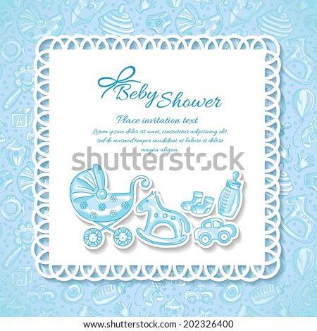 Baby shower, greeting card for baby boy, seamless pattern baby icons - stock vector