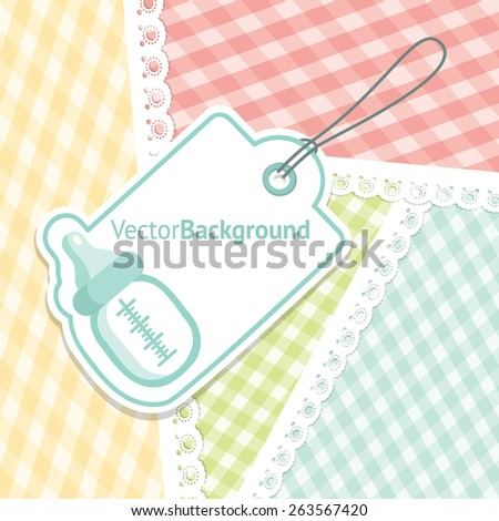 baby shower greeting card for boy with baby bottle vector background