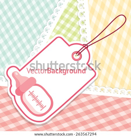 baby shower greeting card for girl with baby bottle vector background